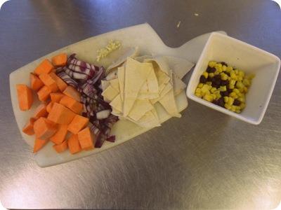 sweet potato, red onion, tortilla, black beans, sweetcorn