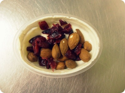vanilla greek yoghurt, dried cranberries, almonds