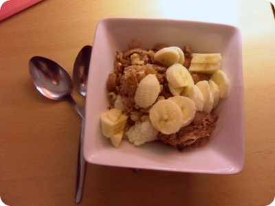 chocolate and vanilla ice cream with bananas and nuts