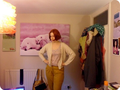 New Look trousers, Dorothy Perkins vest, vintage cardigan